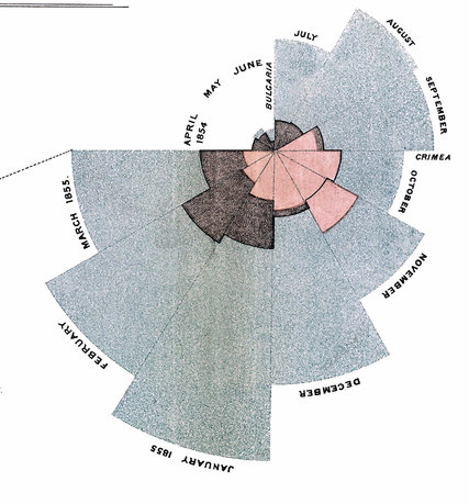 Florence Nightingale developed the polar pie chart to depict mortality causes in the Crimean War.