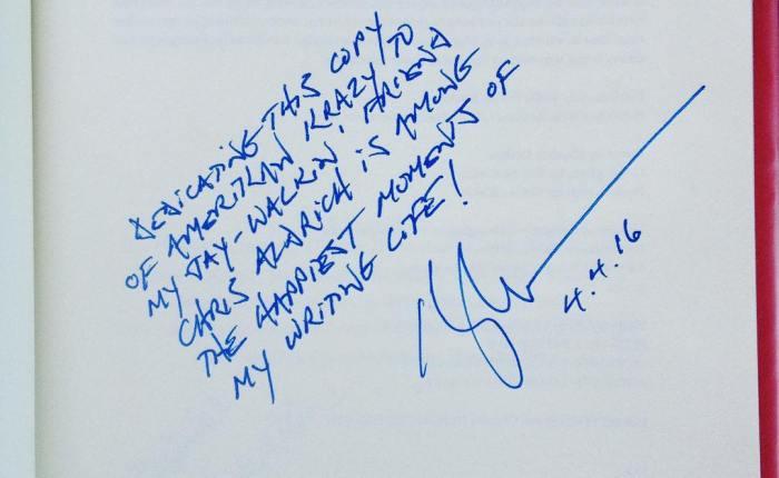 Inscription in my copy of AmerikanKrazy